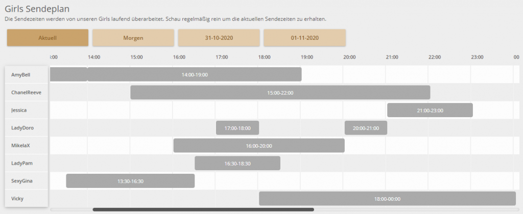 Camgirls Stundenplan bei Sadorado